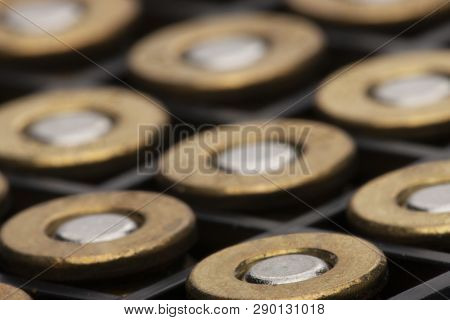 Pile Of Pistol Bullets. The Concept Of Limiting The Spread Of Small Arms.