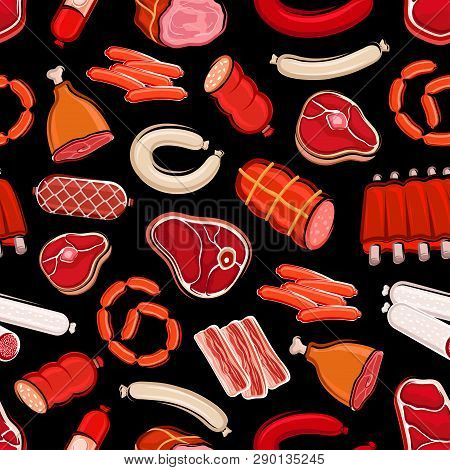 Sausages And Meat Seamless Pattern. Vector Butchery Shop Food, Beef And Pork, Salami And Tenderloin,