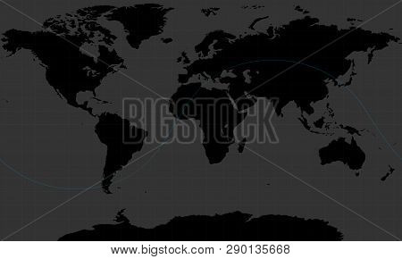 Scan The World Map And The Trajectory Of The Iss, Dark Grey Style.