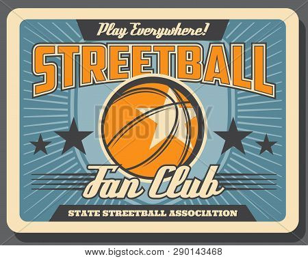 Basketball Or Streetball Sport, Leather Heavy Ball. Vector Sporting Item, Competition Or Championshi