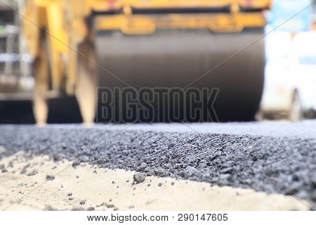 Road Construction Asphalt Road By Worker And Roller Machine. Asphalt Road Background