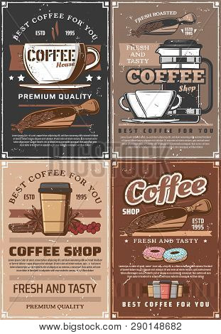 Coffee Brewing, Beans In Scoop And Pot, Paper And Glass Cups. Hot Steaming Americano Or Macchiato, M