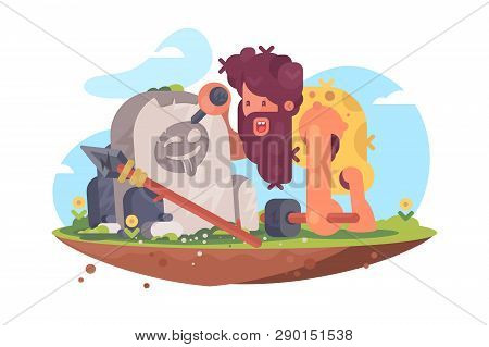 Primitive Man Writing Message On Stone Vector