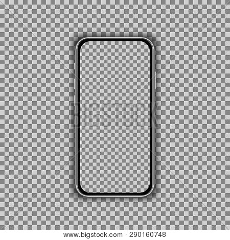 Realistic Smartphone Screen Template Isolated On Transparent Background. Front View Mockup. Vector I