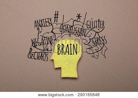 Adult People Figure Brain In Chaos, Confusion.