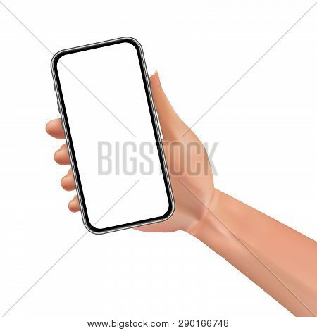 Female Hand Holding Black Smartphone With Blank Screen Isolated On White Background. Vector Illustra