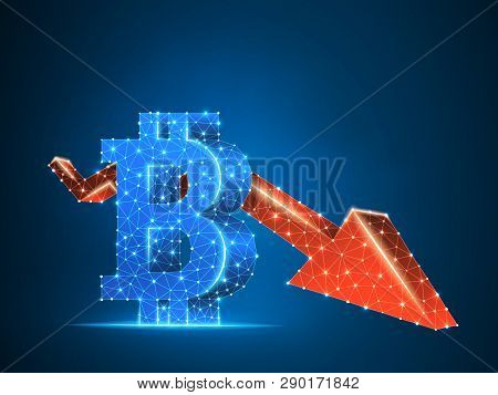 Downtrend Arrow Bitcoin Chart Wireframe Digital 3d Illustration. Low Poly Business, Data Cash, And F