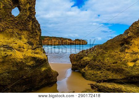 Australia. Great Ocean Road along the Pacific coast. Picturesque Pacific coast - bays and rocks. The concept of active and automobile tourism