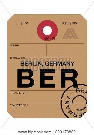 Berlin Realistically Looking Airport Luggage Tag Illustration