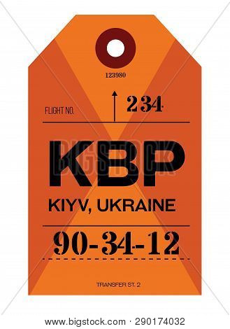 Kiev Realistically Looking Airport Luggage Tag Illustration