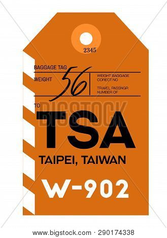 Taipei Realistically Looking Airport Luggage Tag Illustration