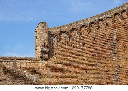 Medieval Castle Wall As Background . Brick Wall