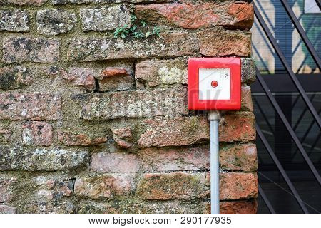 Fire Alarm Box On White Cement Wall For Security Warning Alert, Push Button Fire Alarm In The Buildi
