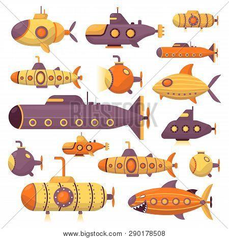 Set Of Submarine Vector Sea Pigboat Or Marine Sailboat Underwater And Ship Transport In Deep Ocean I