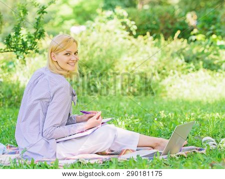 Stay Free With Remote Job. Managing Business Remote Outdoors. Woman With Laptop Sit Grass Meadow. Be