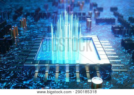 Ai - Artificial Intelligence Concept Cpu. Machine Learning. Central Computer Processors On The Circu