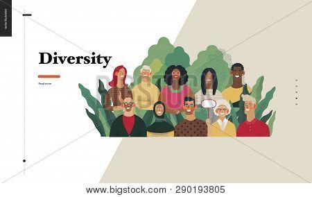 Technology 2 - Diversity - Modern Flat Vector Concept Digital Illustration Of Various People Present