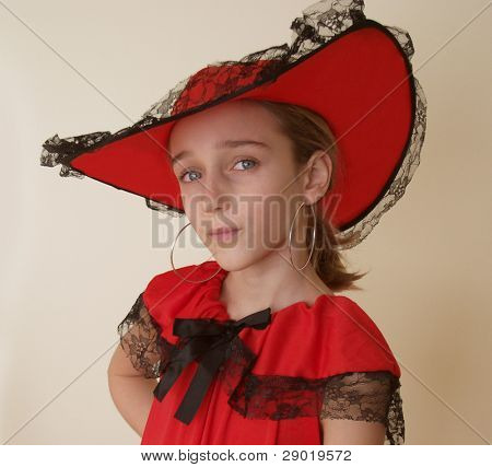 Portrait of a girl in red hat
