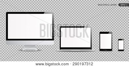 Realistic Computer, Laptop, Tablet and Smartphone with white Wallpaper Screen Isolated on transparent. Set of Device Mockup Separate Groups and Layers. New Easily Editable Vector.