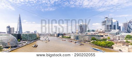 London downtown cityscape skylines building with River Thames in London UK Panoramic