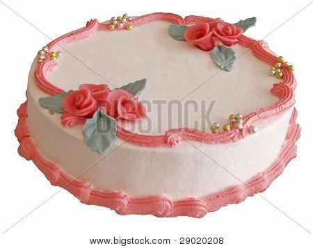 Elegant celebration cake with red marzipan roses (isolated)