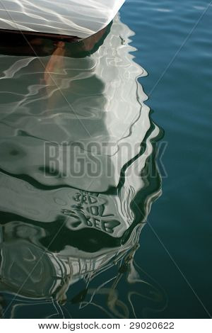 Prow boat reflection