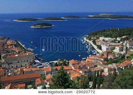 Aerial view of marina on island of Hvar, Croatia
