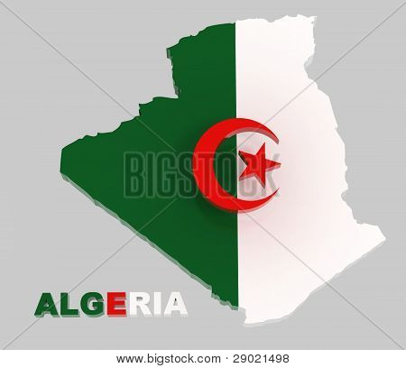 Algeria, Map With Flag, Isolated On Grey With Clipping Path