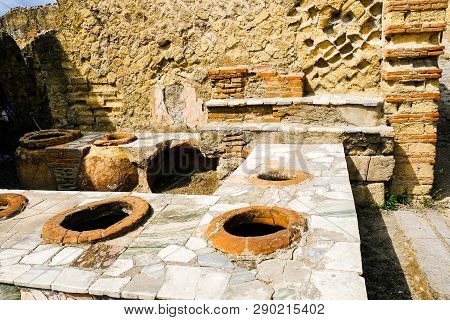 Herculaneum, Ancient Roman Town. Kitchen Bar In Big Tavern, Ercolano, Italy