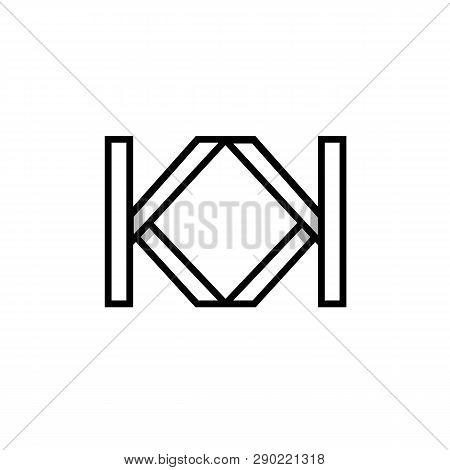 Modern Geometric Kk Initials Monogram Logo For Fashion Luxury Business. Isolated Black Reflected Out