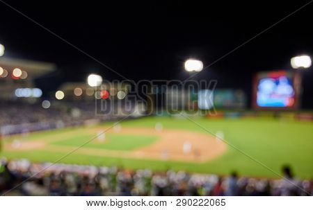 Baseball Sport Game Blurred Background. Baseball League  Theme