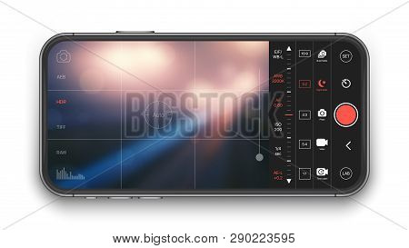Professional Photo And Video Camera Premium Mobile App With Advanced Settings UI Concept Mock Up On Realistic Frameless Smartphone IPhone Screen Isolated on Black Background. Mobile Photography