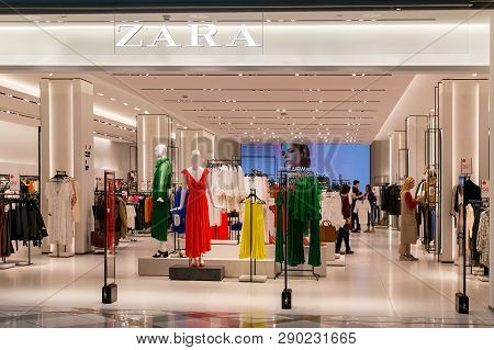 Entrance To Zara Store In The Grand Mall Shopping Center. Bright And Fashionable Salesroom Of Zara I