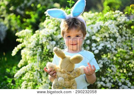 Love Easter. Family Holiday. Egg Hunt On Spring Holiday. Happy Easter. Childhood. Little Boy Child I