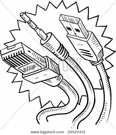 Computer cables sketch