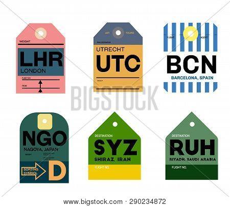 Utrecht Barcelona London Nagoya Shiraz Riyadh Airline Baggage Tags Flat Illustration.