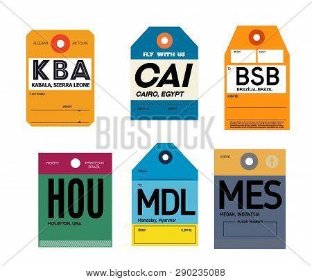 Kabala Cairo Brazilia Houston Mandalay Medan Airline Baggage Tags Flat Illustration.