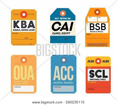 Kabala Cairo Brazilia Ouagadougou Accra Santiago Airline Baggage Tags Flat Illustration.
