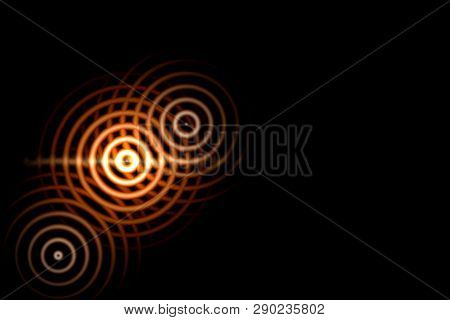 Abstract Light Background, Orange Sound Waves Oscillating With Circle Ring