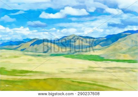 Digital Painting. Drawing Watercolor. Mountain Landscape. Alpine Landscape In Early Spring. Himalaya