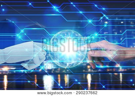 Robot And Human Hands Touching On Technology And City Background, Artificial Intelligence Technology