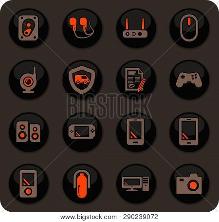 Supermarket Electronic Color Vector Icons On Dark Background For User Interface Design