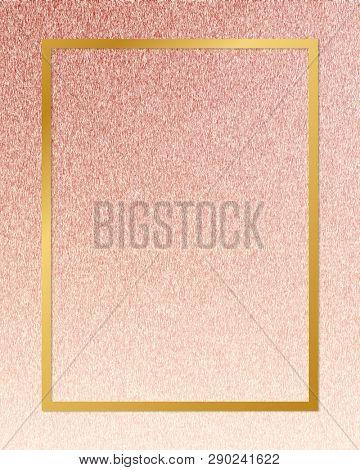 Gold rectangle frame on a rose gold background