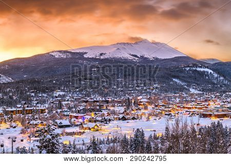 Breckenridge, Colorado, USA town skyline in winter at dawn.