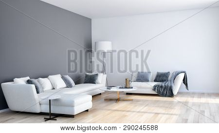 Large Luxury Modern Bright Interiors Living Room Illustration 3D Rendering Computer Digitally Genera