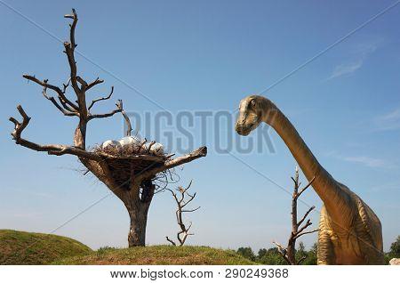 Leba, Poland - July 05, 2012: Model of dinosaur in Jurassic park. Seismosaur (Diplodocus), length 45 m , weight 113 ton.
