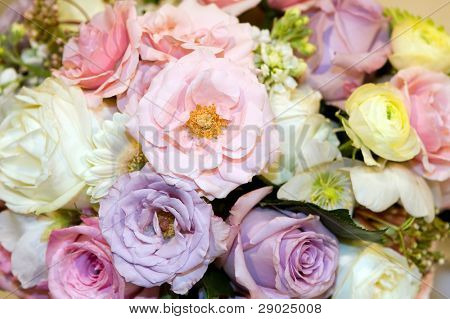 Detail of a colorful rose bouquet