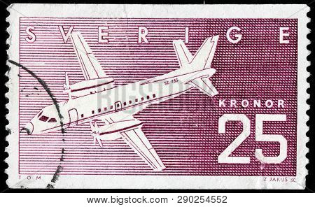 Luga, Russia - February 17, 2019: A Stamp Printed By Sweden Shows Swedish Airplane Saab Sf340, Circa