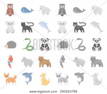 An Unrealistic Animal Cartoon, Mono Icons In Set Collection For Design. Toy Animals Vector Symbol St