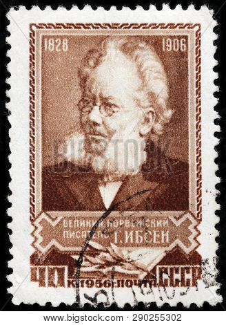 Luga, Russia - February 17, 2019: A Stamp Printed By Russia (ussr) Shows Image Portrait Of Famous No